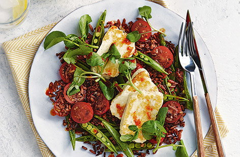 Warm halloumi grain salad