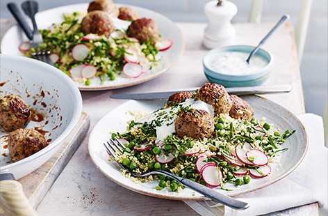 Zesty meatballs with couscous salad
