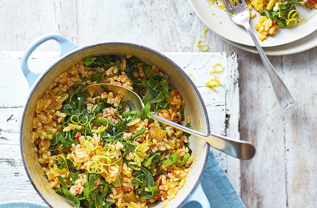 Tuesday: Baked chorizo and spring greens risotto