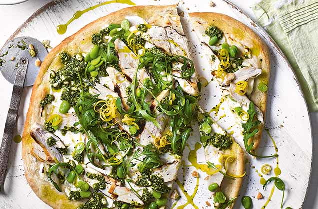Friday: Griddled chicken, broad bean and rocket pizza