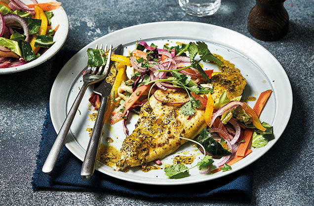 Quick dinner: Peanut-crusted fish with crunchy slaw
