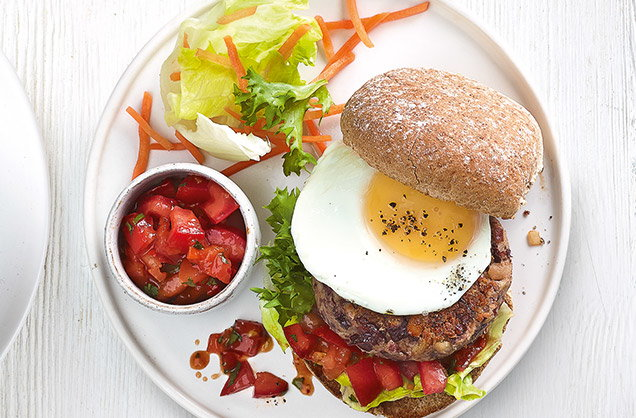 Thursday: Egg-topped veggie bean burgers