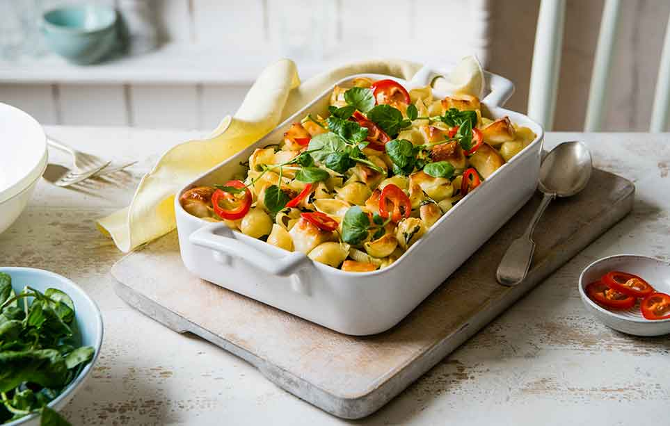 Recipes cooking baking recipes tesco real food vegetarian pasta bake with halloumi forumfinder Images