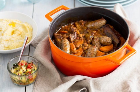 Pork, pinto bean and sweet potato stew
