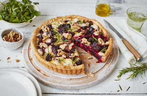 Adding roasted beetroot to this goat's cheese tart not only gives the dish a delicate sweetness but also injects a beautiful dash of colour to the dining table.