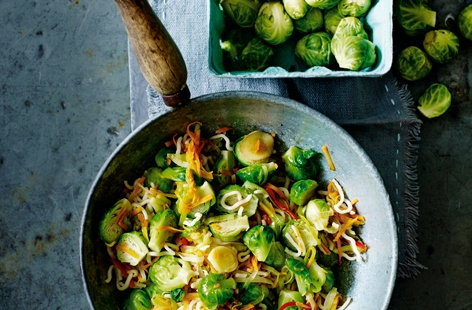 An ideal way to use up leftover sprouts – this quick, easy and healthy stir fry packs a fragrant blend of spices, the salty-sweetness of soy and honey, and the fresh vibrancy of carrot and leek
