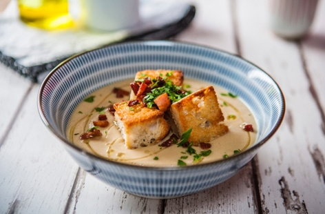 Roasted celeriac and apple soup