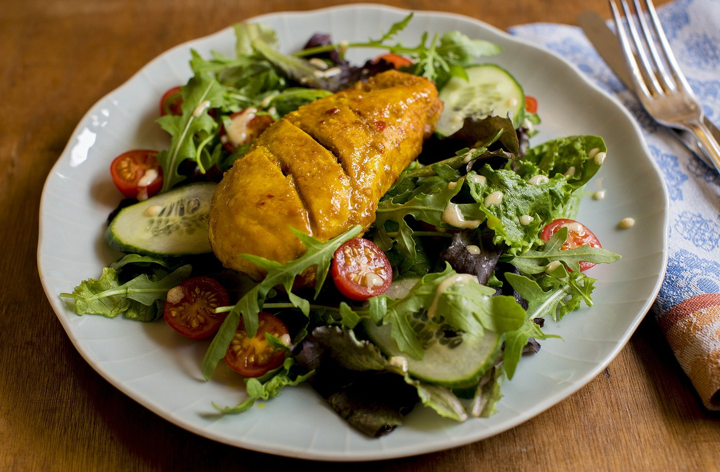 Spicy glazed chicken with a curry salad dressing recipe