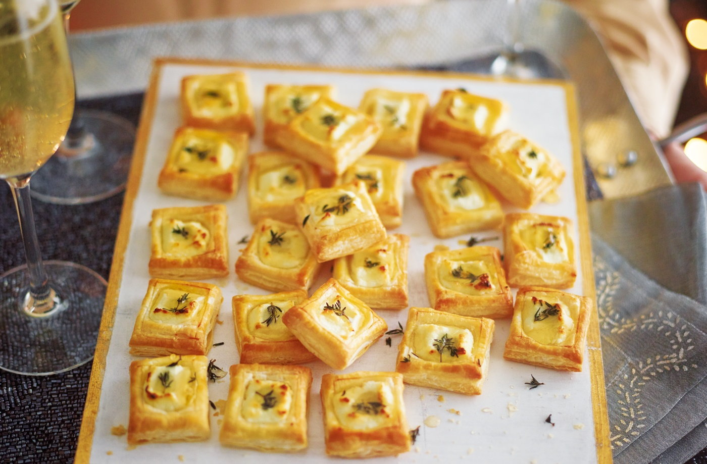 Goat 39 s cheese bites recipe party food ideas tesco real for Puff pastry canape