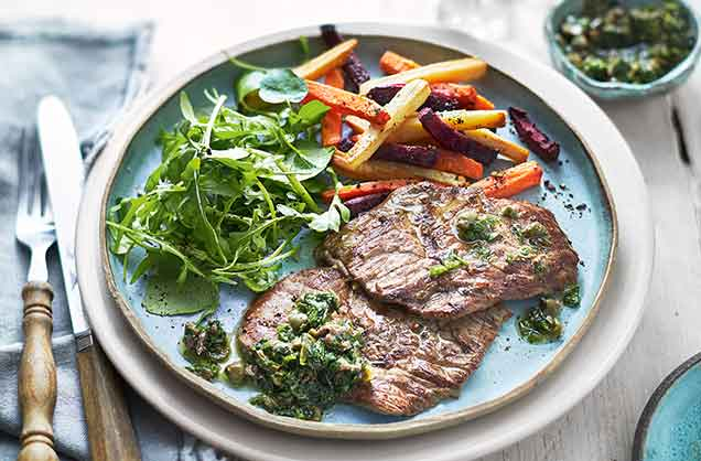 A vibrant herby salsa verde, made with fresh basil and parsley, is the perfect match for a juicy steak. Serve with rainbow root vegetable chips for a colourful healthy side dish.