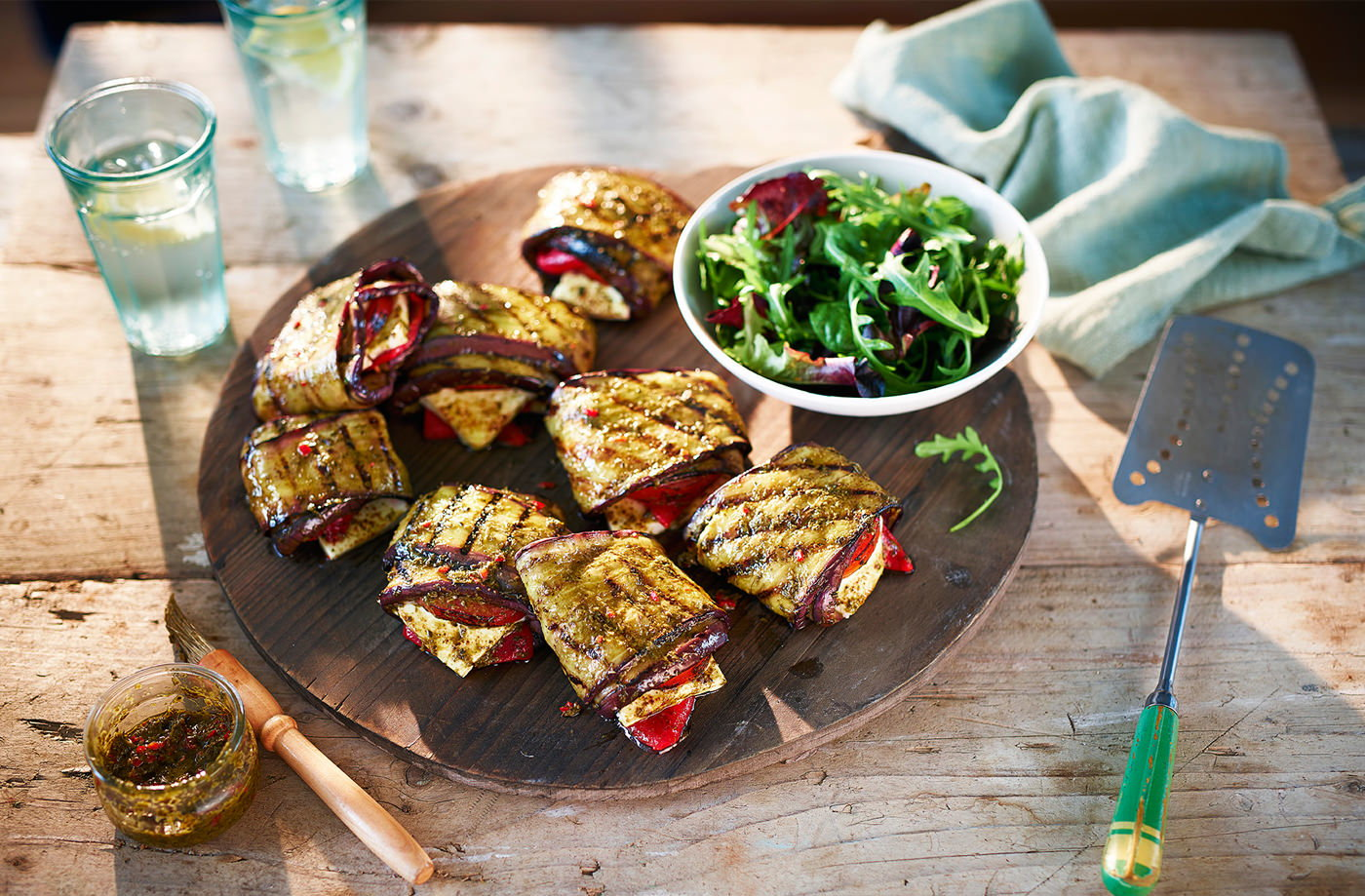 Aubergine, pepper and feta parcels