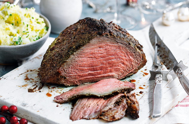 Porcini-dusted beef with turnip and potato mash recipe