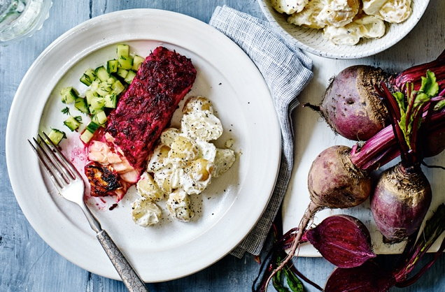 Beetroot salmon with potato salad and cucumber pickle recipe