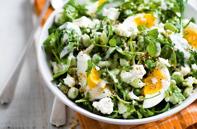 Feta, broad bean and egg salad with tahini dressing  recipe