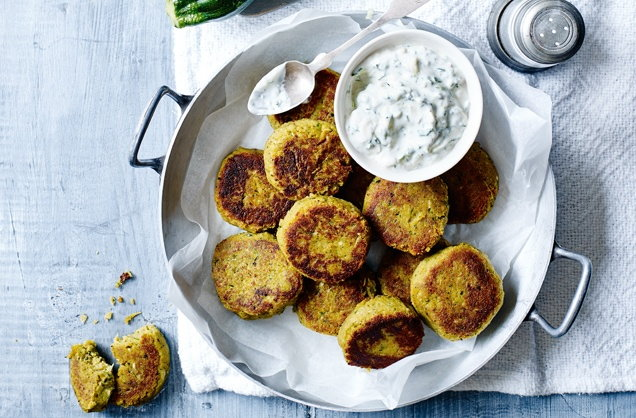 Courgette falafels with tzatziki