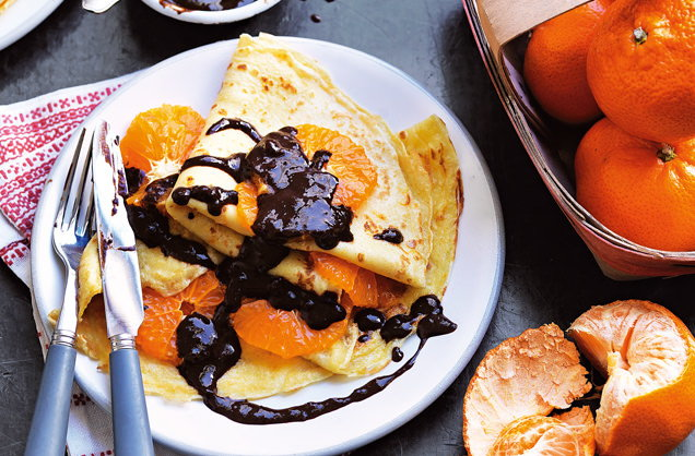 Chocolate, hazelnut and clementine crêpes recipe