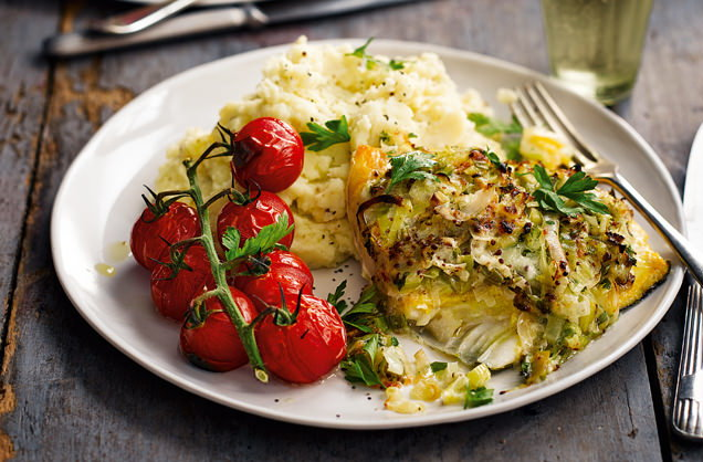 Smoked haddock topped with cheddar and leek recipe