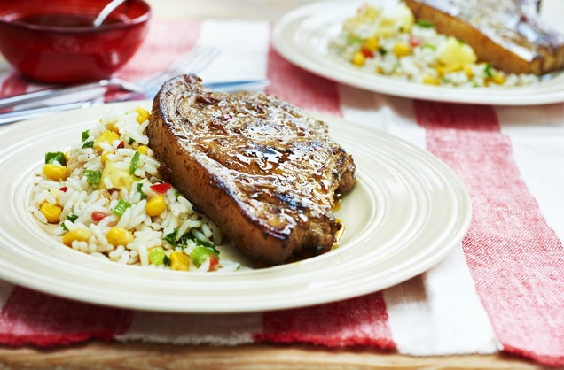 Jerk pork chops with coconut rice recipe