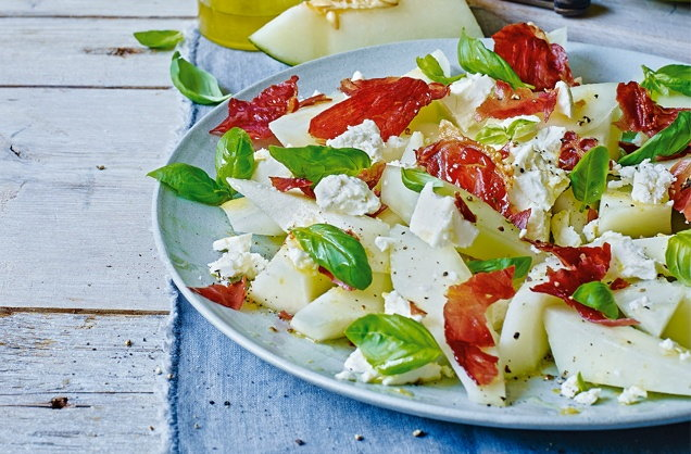 Melon, basil and feta salad recipe