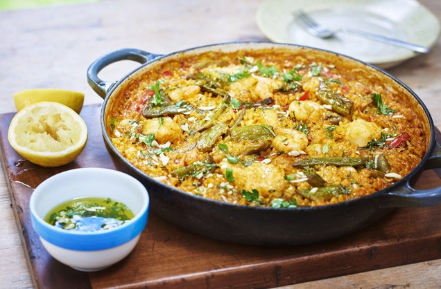 Quick seafood paella recipe