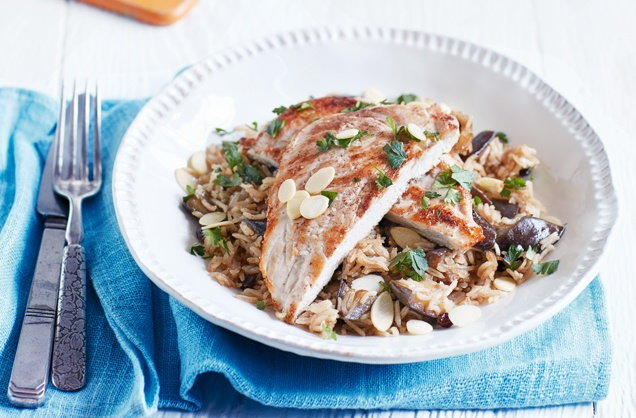 Spiced chicken with aubergine pilaf recipe