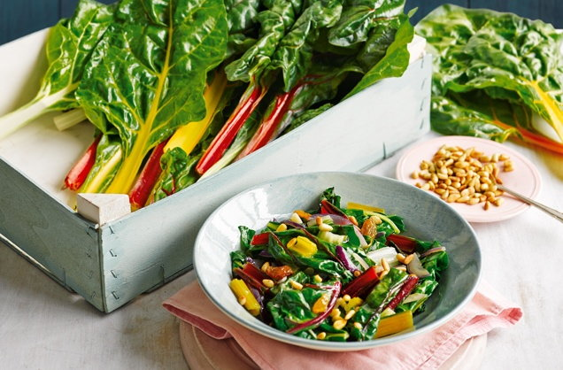 Rainbow chard with raisins and pine nuts recipe