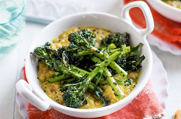 Red lentil dhal with spiced broccoli recipe