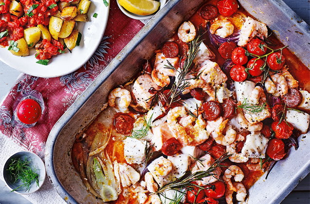 Spanish recipes spanish dishes tesco real food spanish roasted fish with patatas bravas forumfinder Gallery