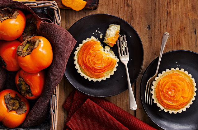 Persimmon custard tarts recipe