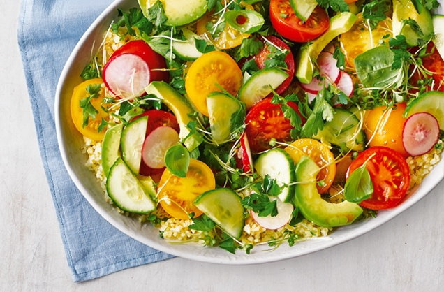 Herby tomato, avocado and bulgur wheat salad