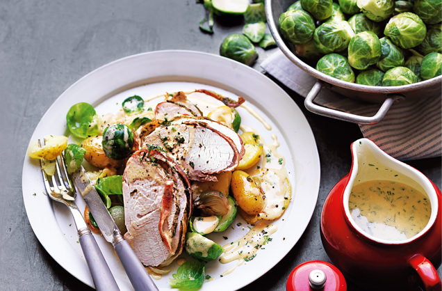 Pancetta-wrapped turkey with roasted sprouts recipe