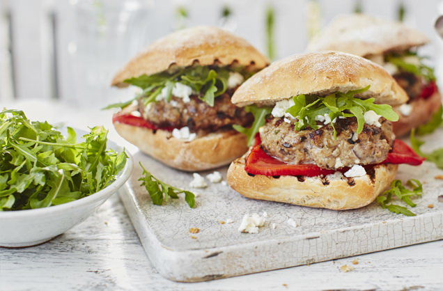 Barbecued Greek lamb burger recipe