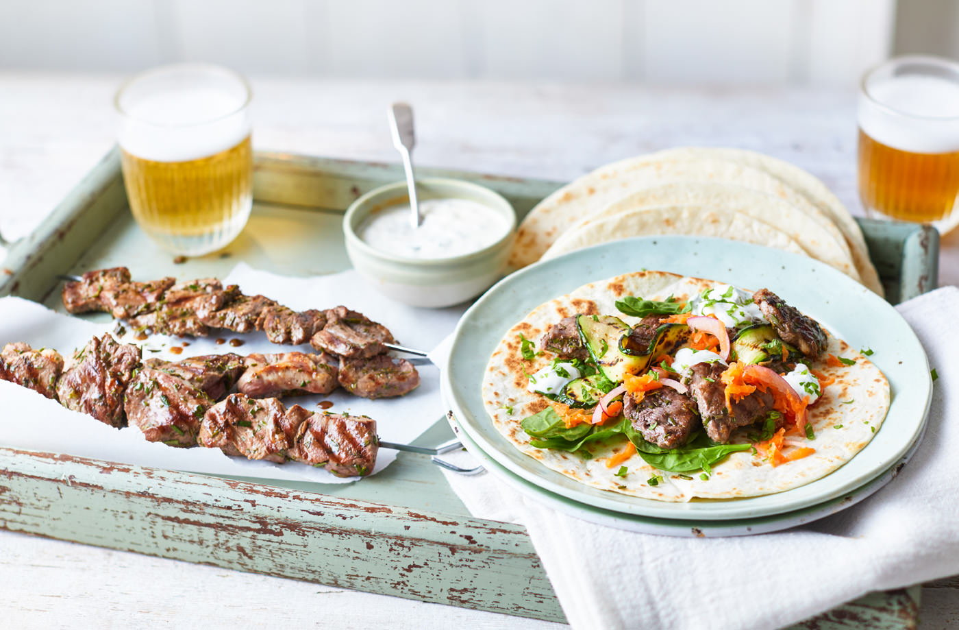 Lamb kebabs with pickled carrot and mint yogurt