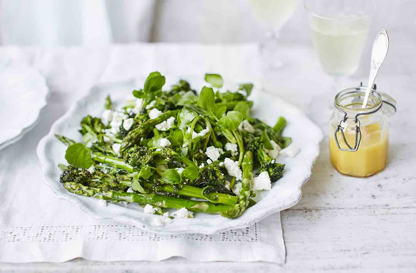 Roasted asparagus, purple sprouting broccoli and feta salad recipe