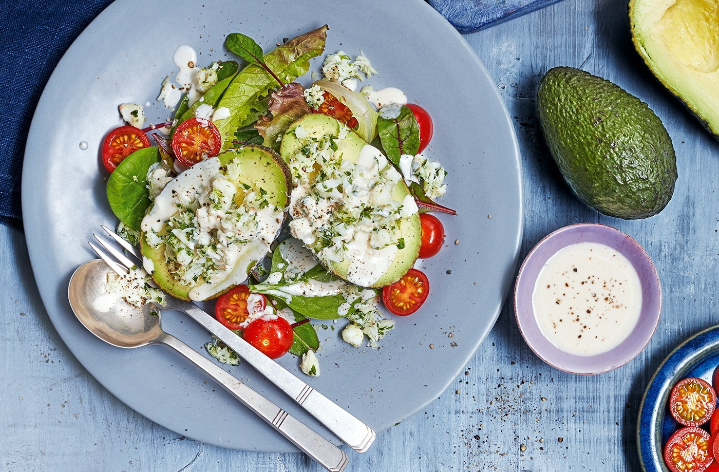 Crab stuffed avocado with buttermilk dressing avocado for Lunch food ideas