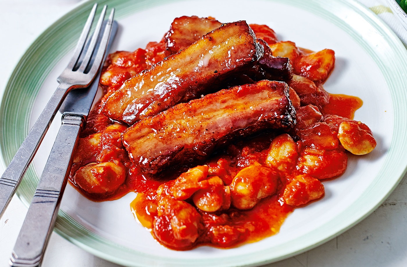 Maple-glazed pork with chilli beans