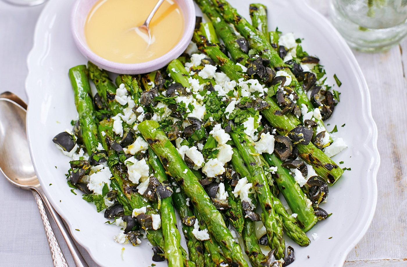 griddled asparagus with feta and olives healthy recipes