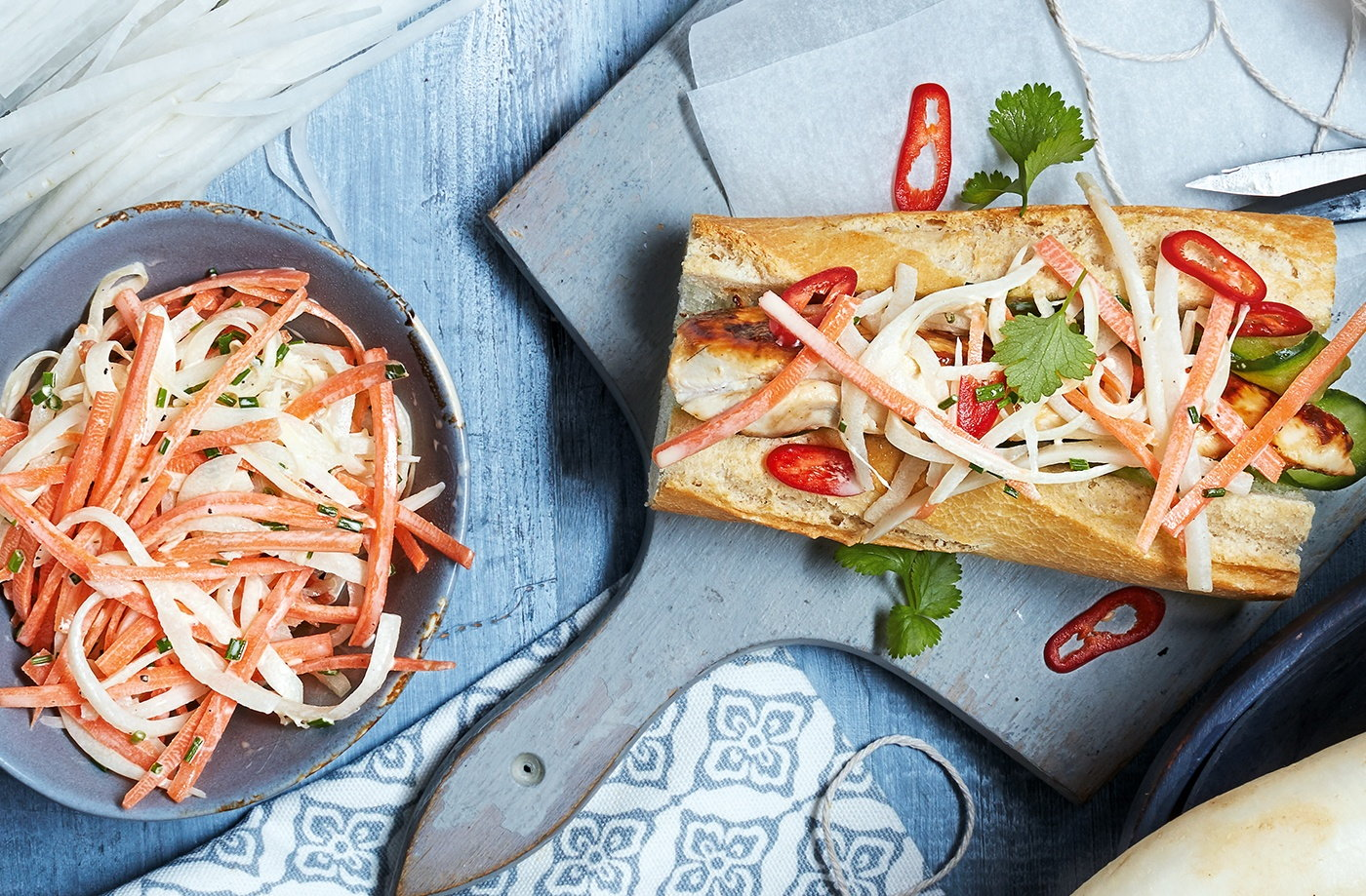 Barbecue chicken baguette with mooli and carrot slaw recipe
