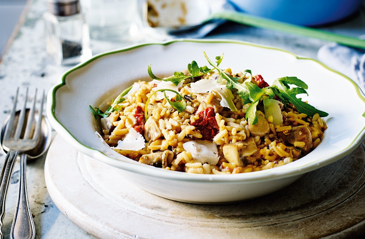 Quick goat's cheese and mushroom risotto | Tesco Real Food