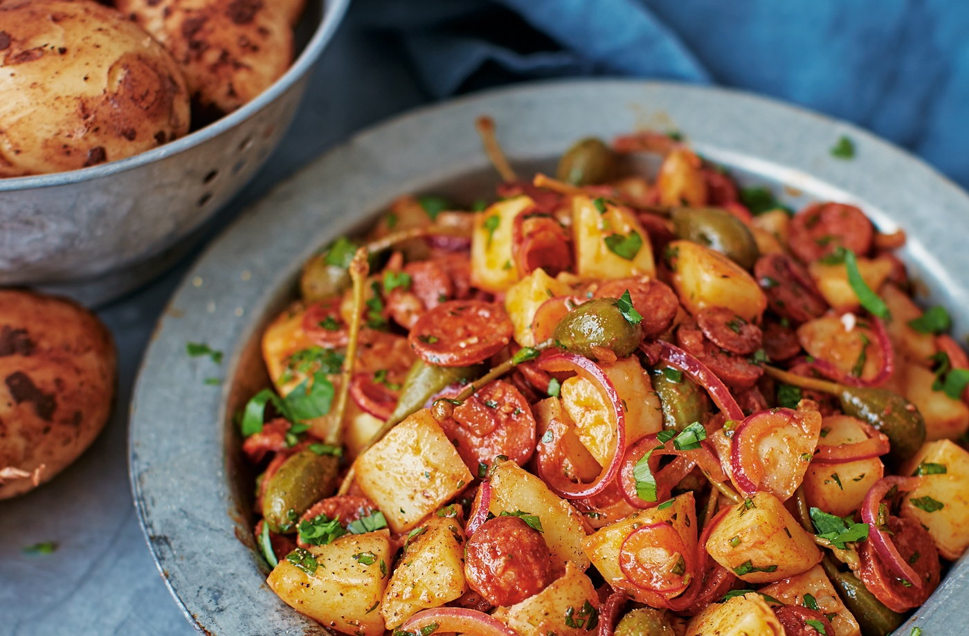 Potato salad with chorizo, caperberries and paprika recipe