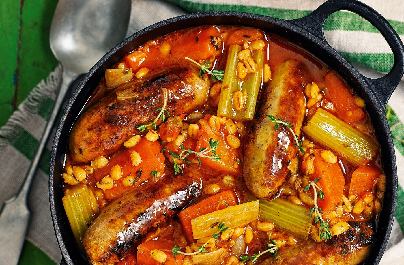 Pearl barley and sausage stew recipe
