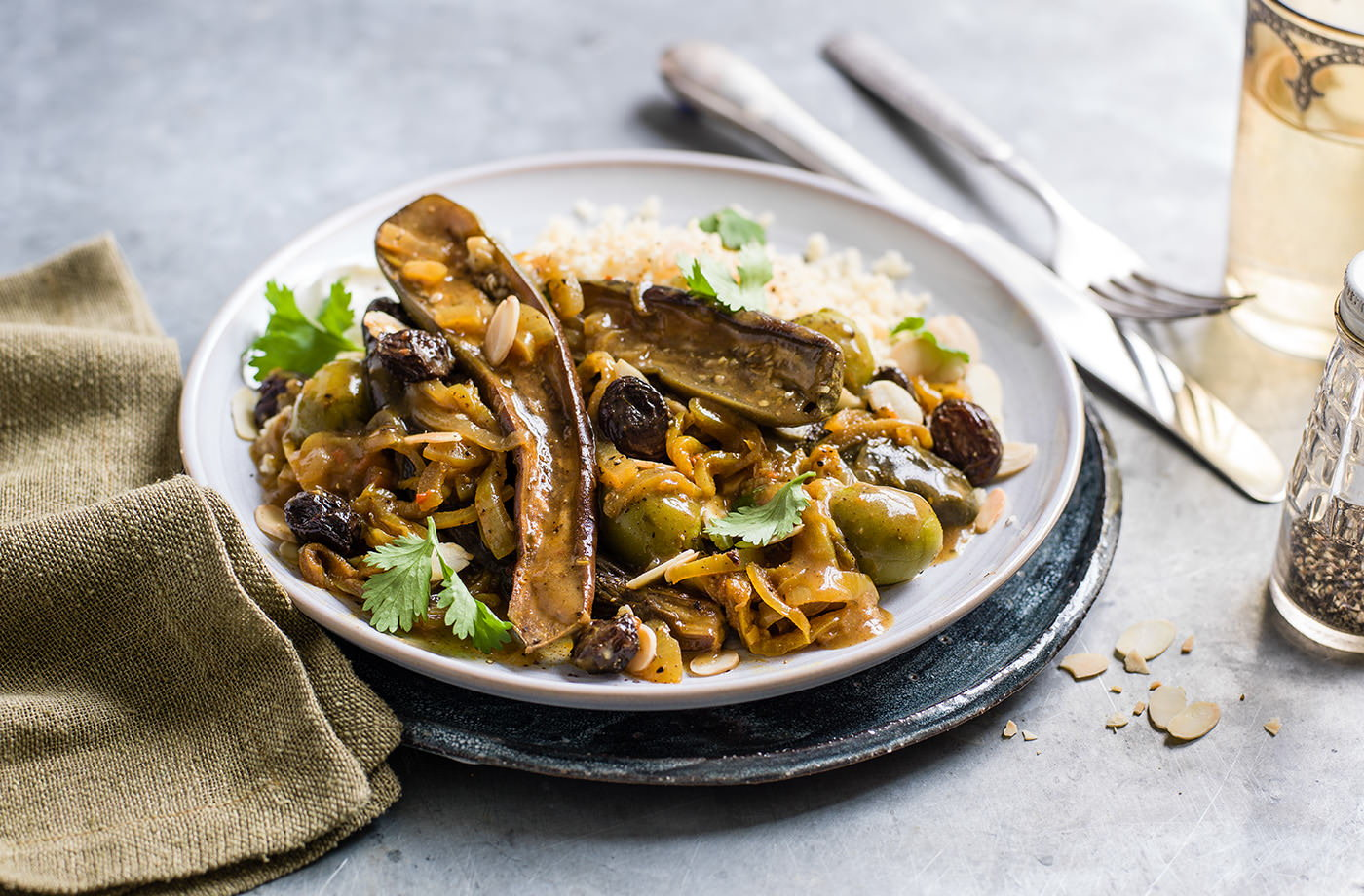 Vegetarian aubergine and olive tagine recipe