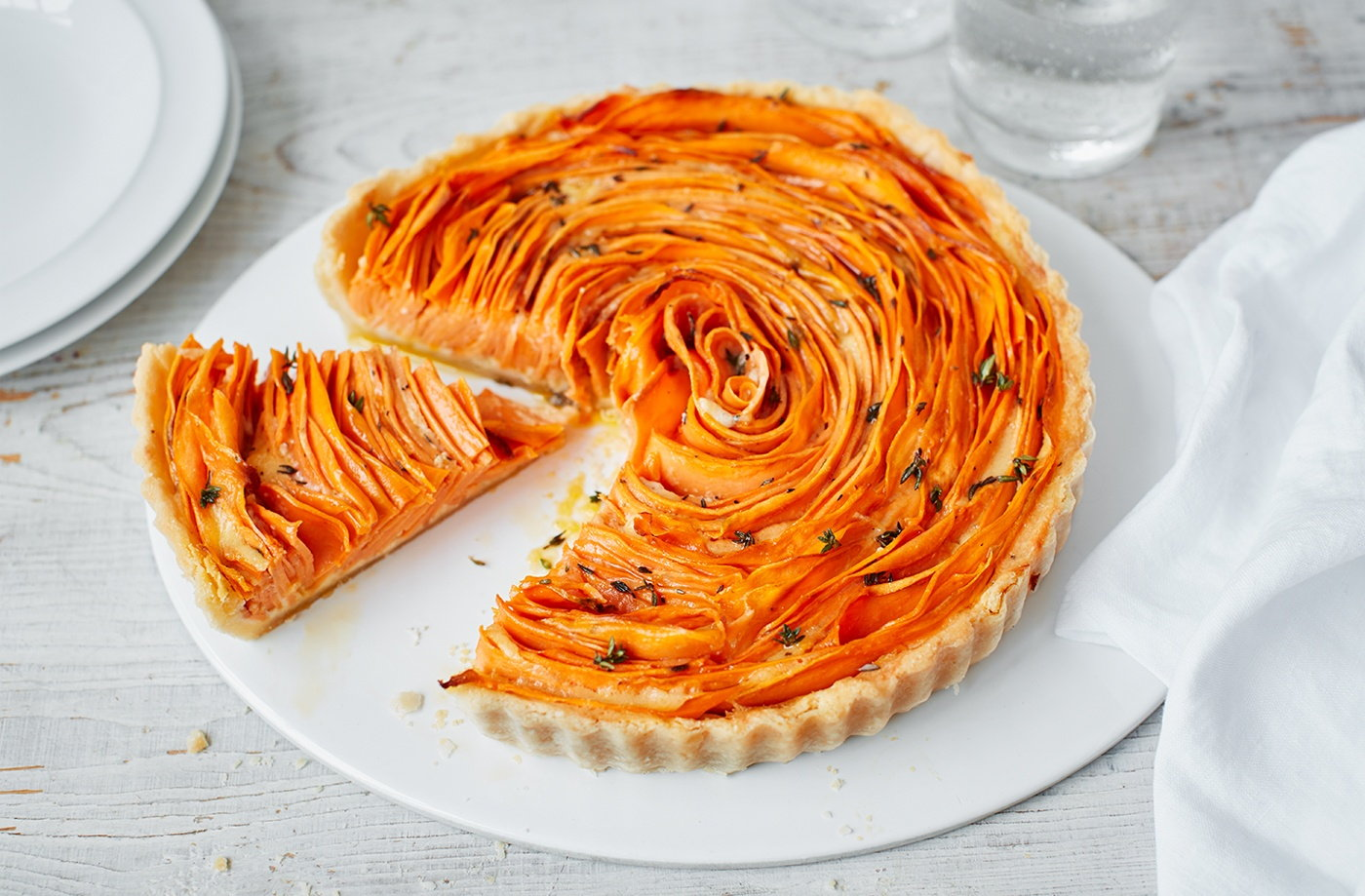 Sweet Potato Thyme And Parmesan Flower Tart