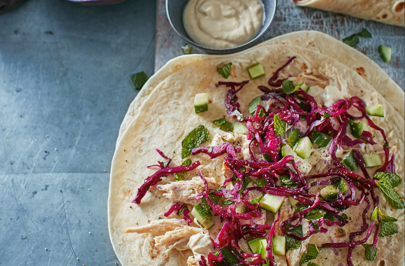 Chicken wraps with pickled red cabbage recipe