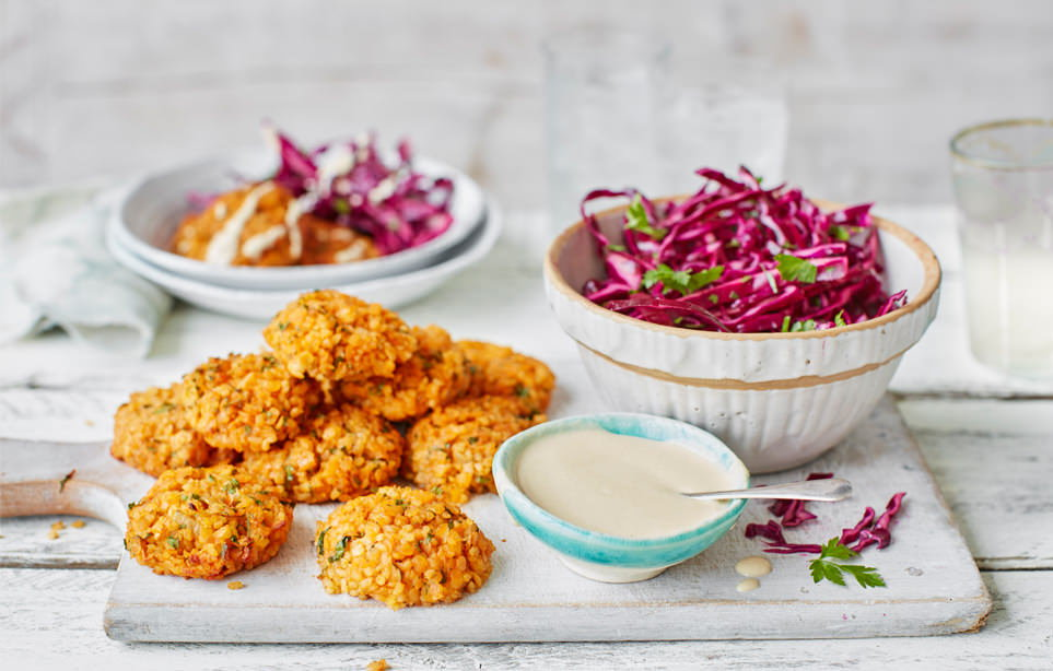Lentil kofte with tahini sauce and red cabbage salad recipe