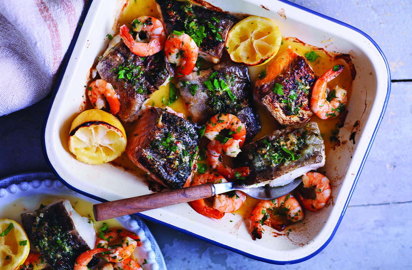 Mixed seafood roast with lemons and gremolata  recipe