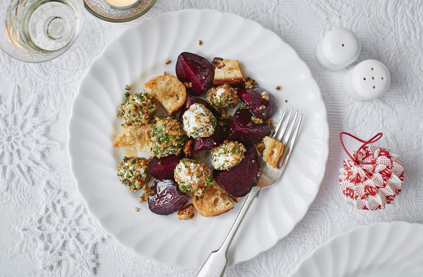Easy christmas starters festive recipes tesco real food walnut and herb crusted goats cheese and beetroot salad forumfinder Choice Image