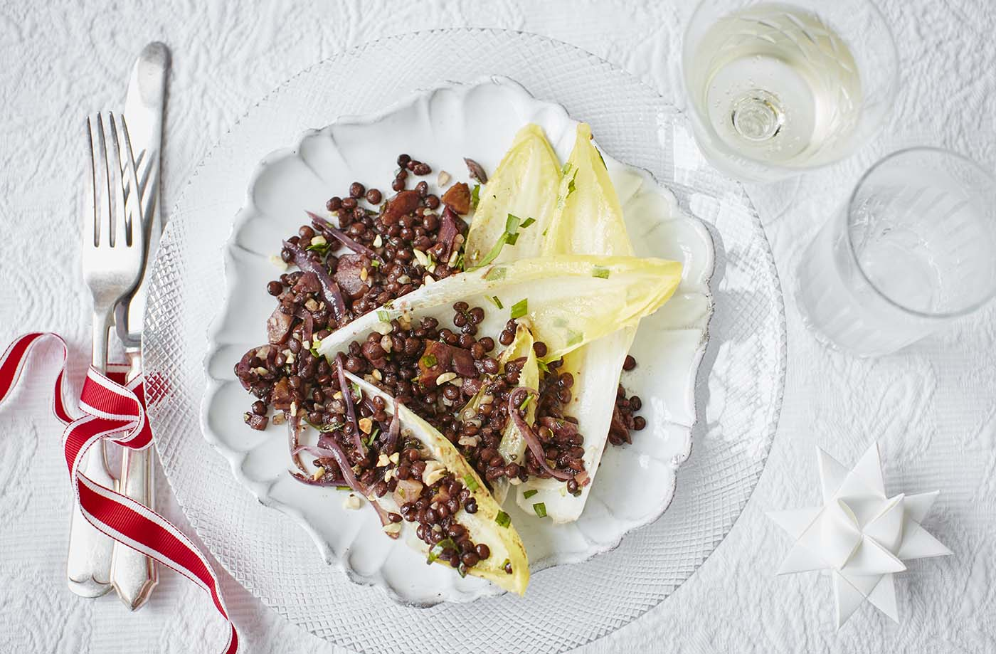 Puy lentil, toasted hazelnut and herb salad with chestnuts recipe