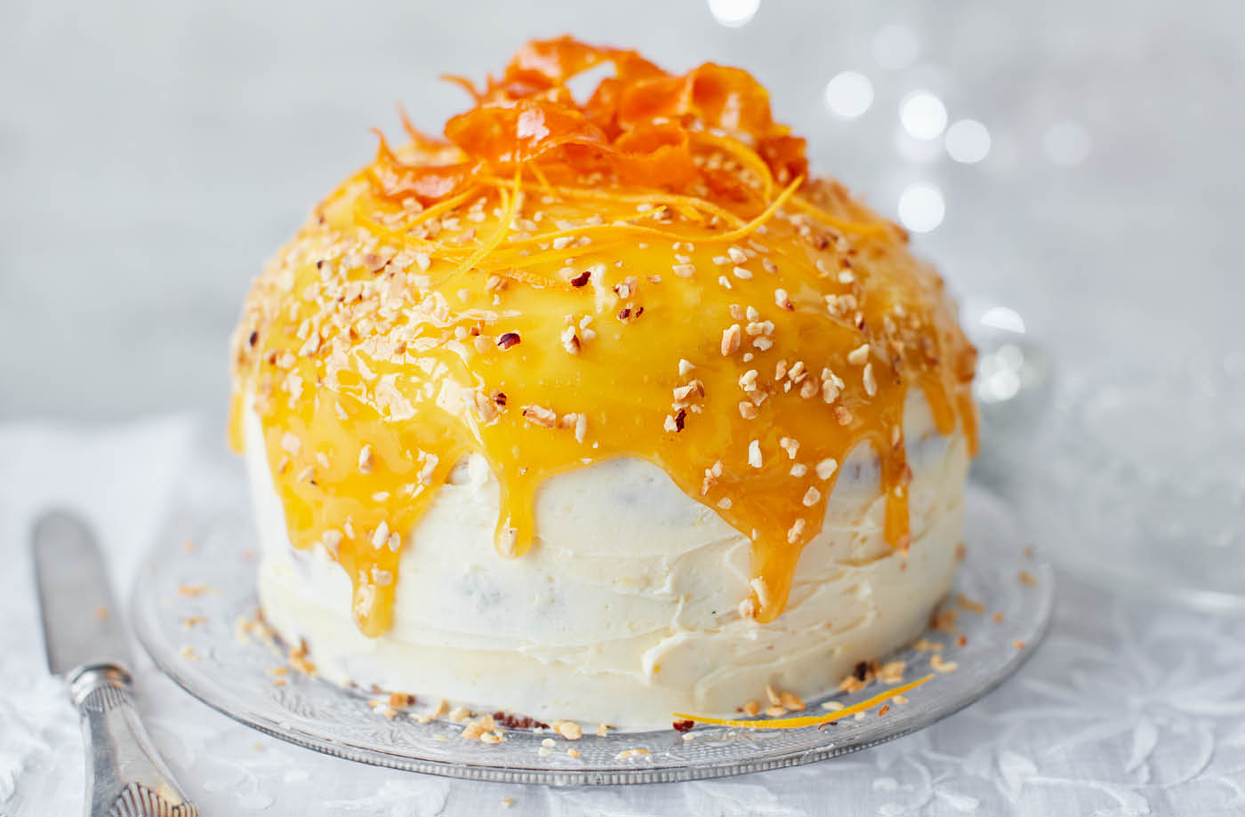 Panettone layer cake with orange buttercream and orange caramel