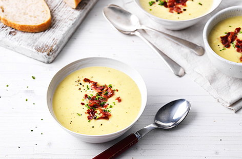 Leek, potato and rosemary soup